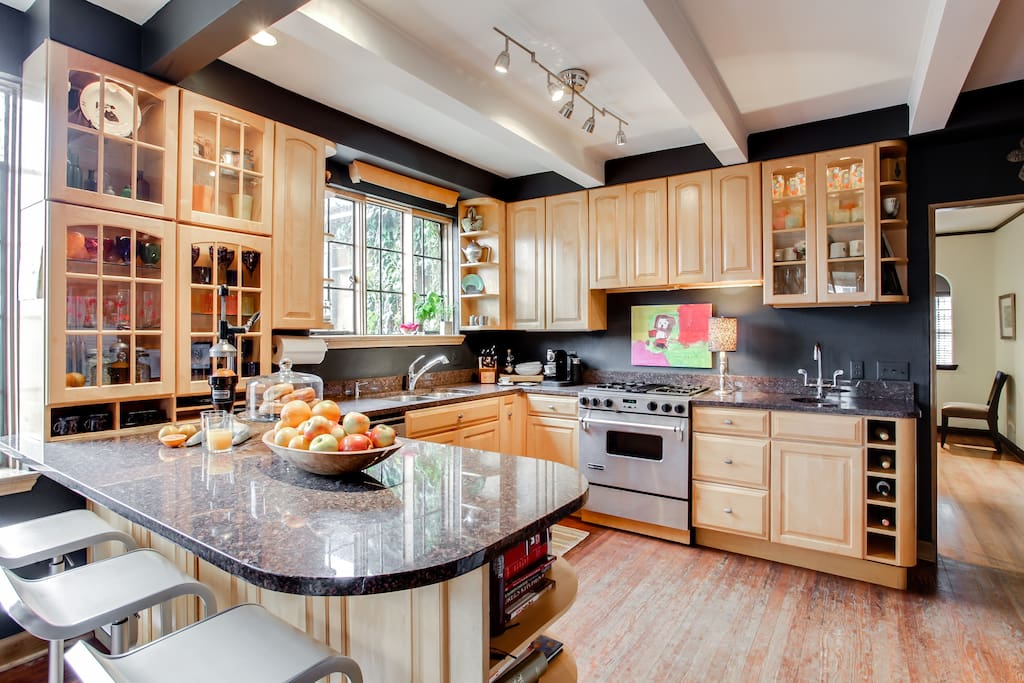 the well appointed kitchen is the hub of the house
