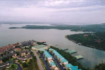 Just B on Table Rock Lake is located in the second green roof building closest to the water and marina. The largest green roof building is Branson Bay Marina and convenience store.