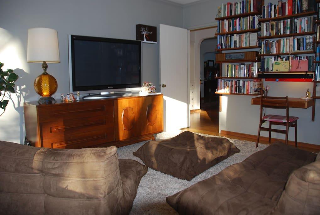 den w/ large TV