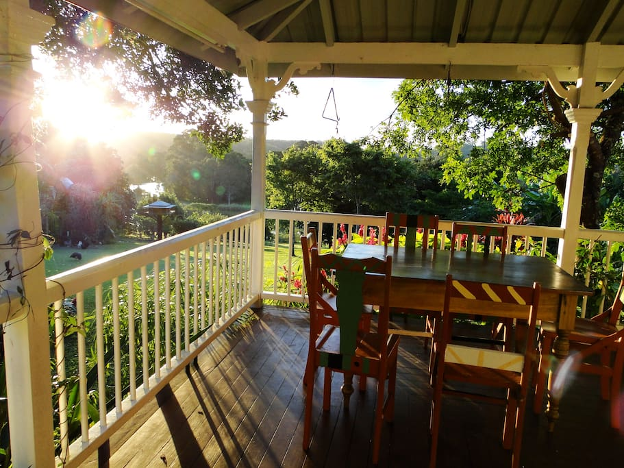 The verandah is the perfect place to watch the sunset