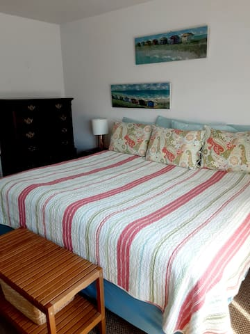 One bedroom with king bed.