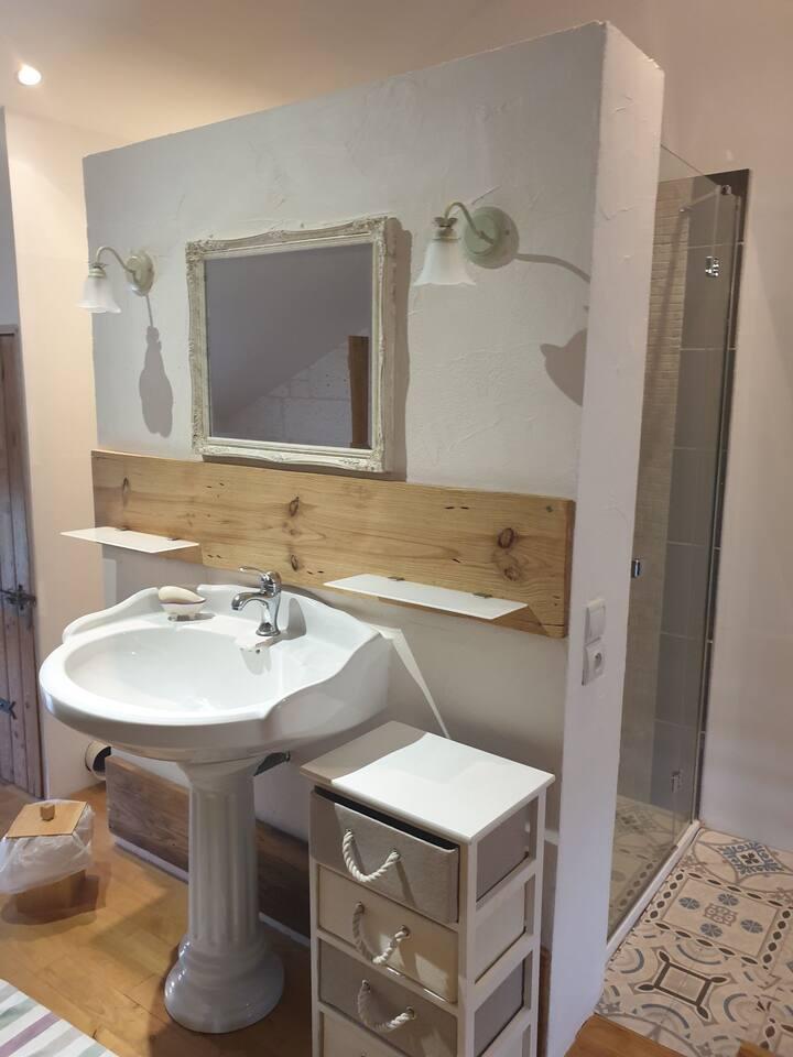 Chambre chez habitant avec salle de douche séparée