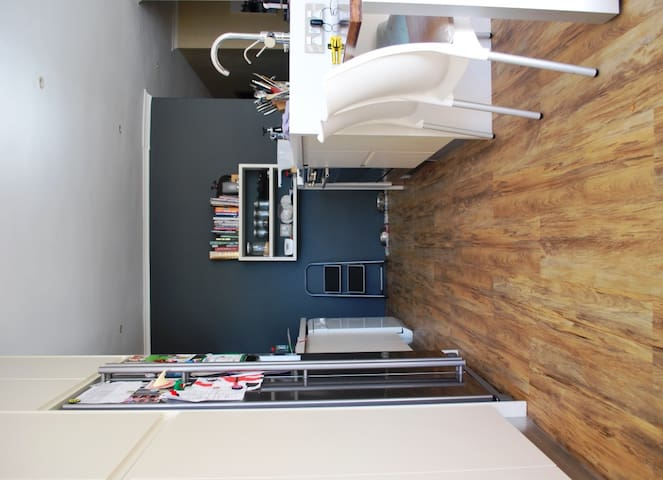 Fully renovated modern kitchen with gas hob and electric oven.