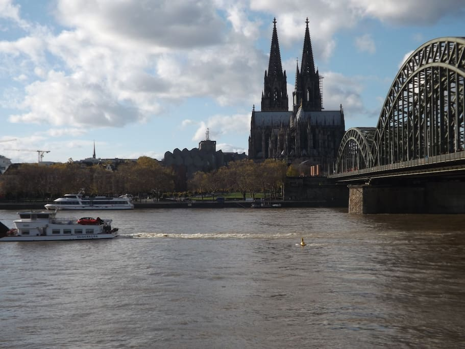 Cologne Cathedral and river Rhine. By train you get there in 10 mins.