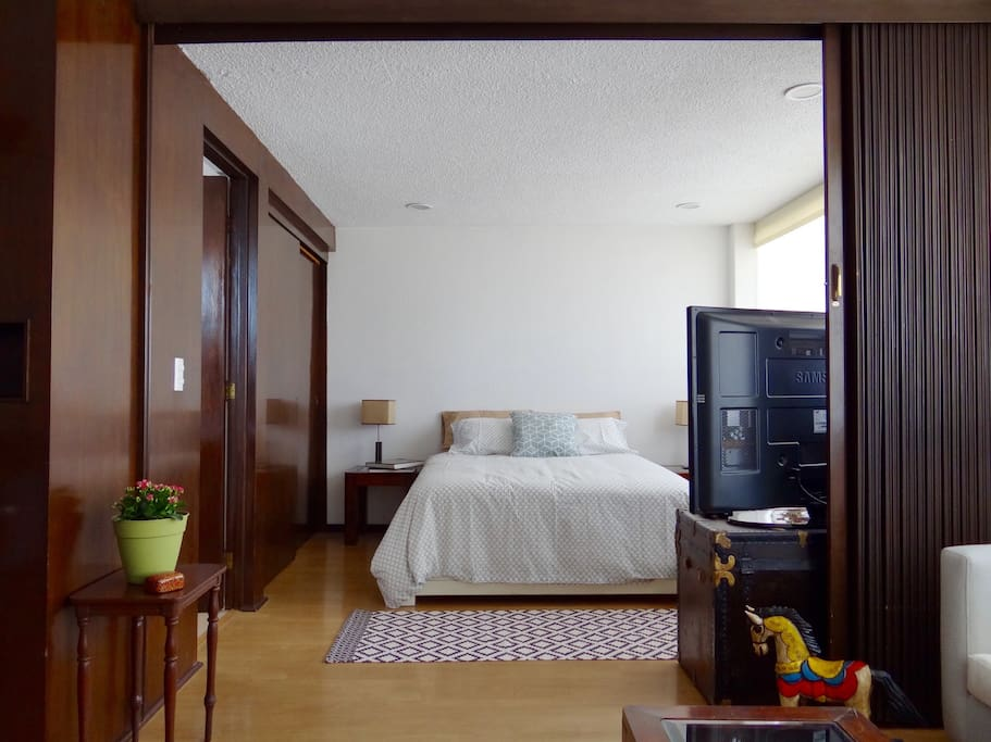 Bedroom with room divider.