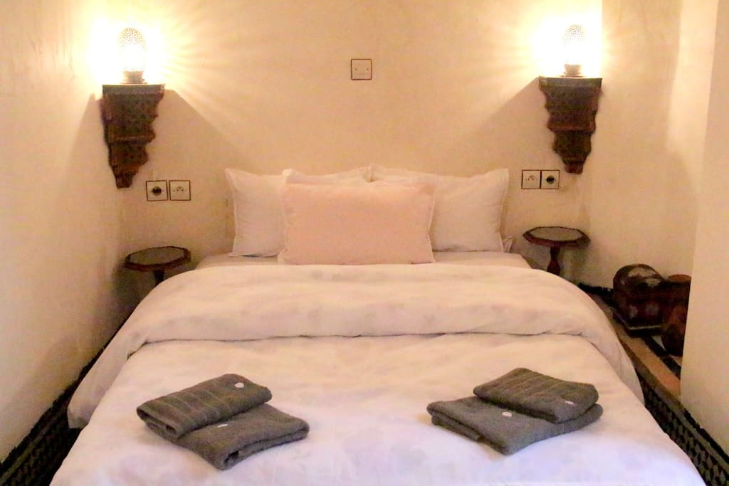 The Amina room is on the ground floor and has a double bed