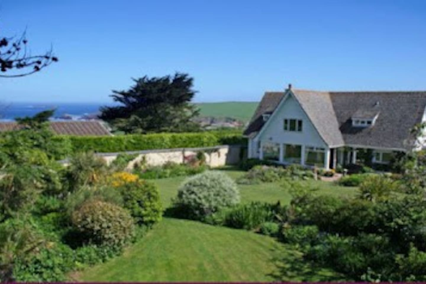 Merifield has a large enclosed garden and good sea views