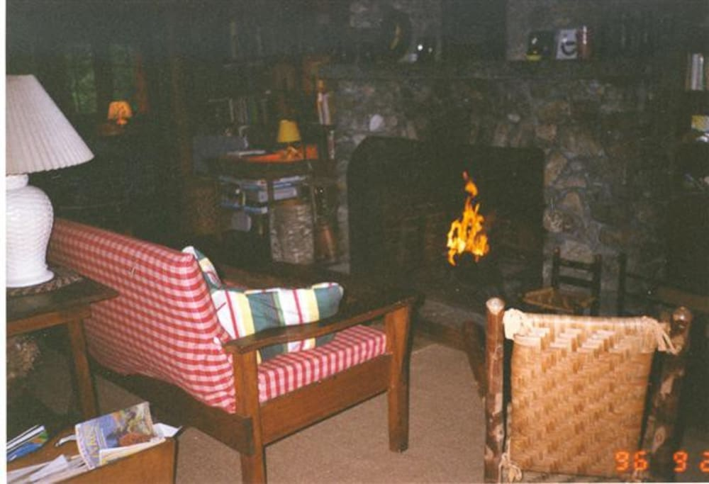 A roaring fire in the living room of Ole Crow.