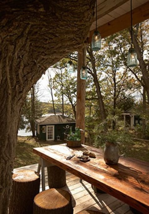 The cabins as seen from the main deck of the Wandawega Treehouse