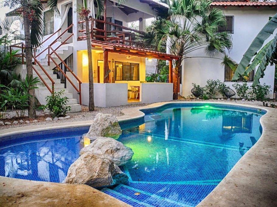 Villa Jardin is the ground floor villa opening onto the pool.