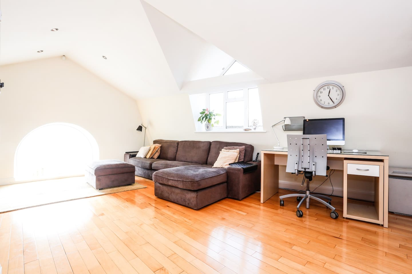 The room is part of a converted second floor loft apartment with many characteristic features throughout.