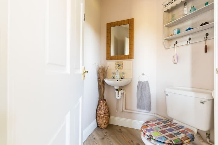 Downstairs cloakroom WC and wash basin.