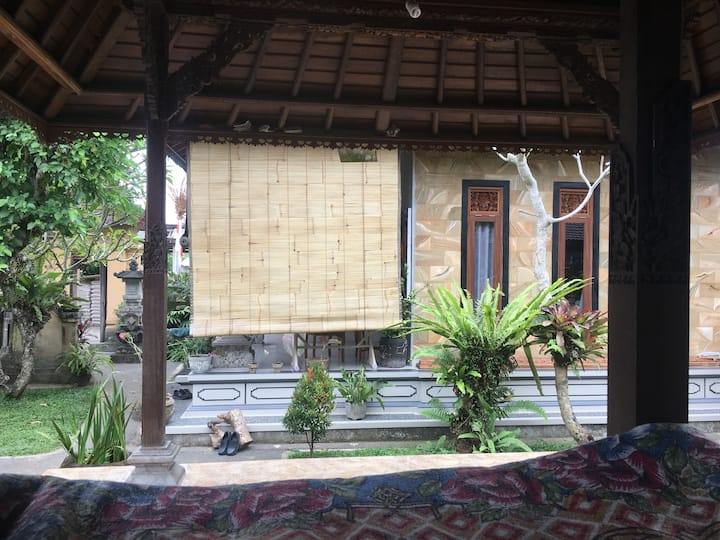 Open air living in Balinese compound