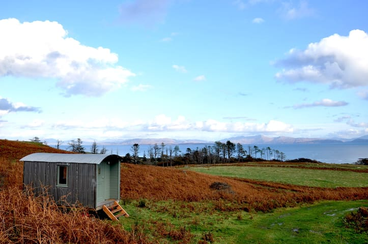 The Shepherd's Hut looks out to the Scottish mainland