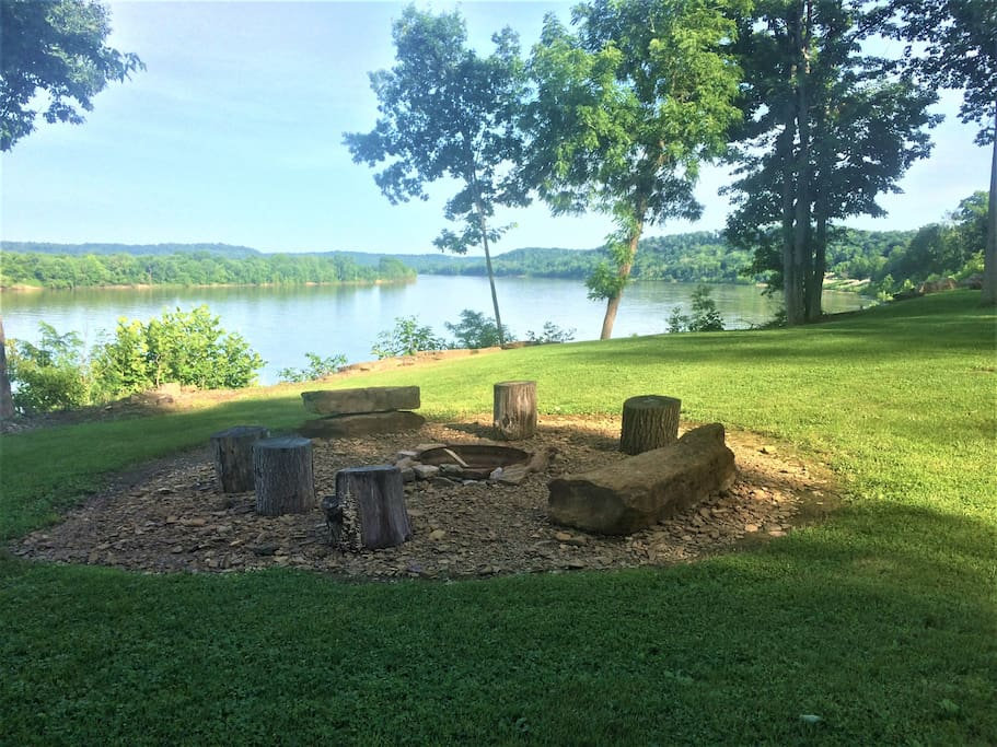 Fire pit with a beautiful river view!