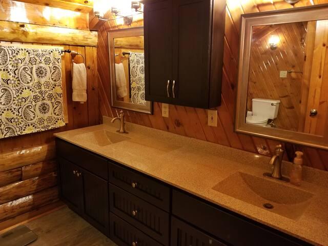 Master bathroom with custom vanities.