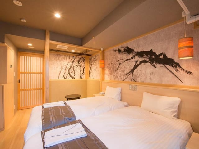 [5-min on foot to Kinshicho Sta.] Perfect for sightseeing Tokyo/ [Free breakfast,Wi-Fi ]Japanese modern twinbedroom(25㎡)