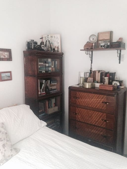 Antique bookshelf and dresser.