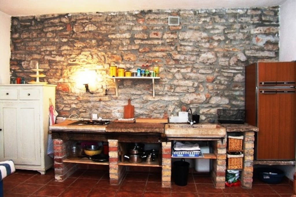 old stone wall in kitchen