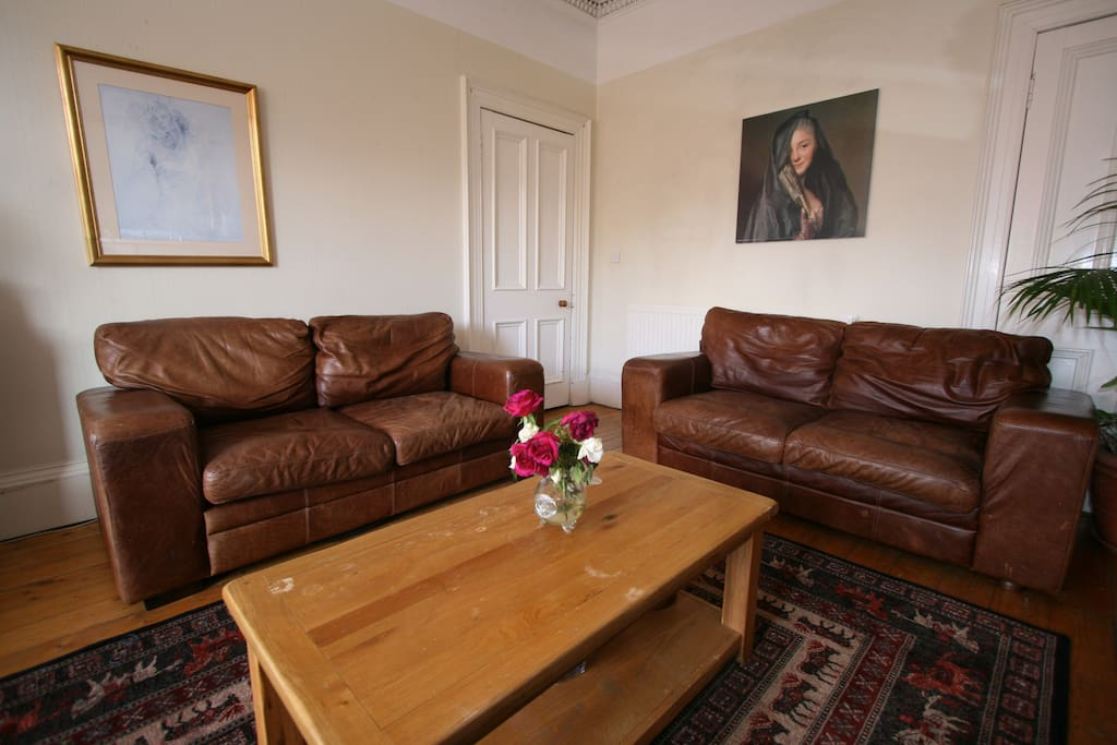 Leather sofas in the lounge