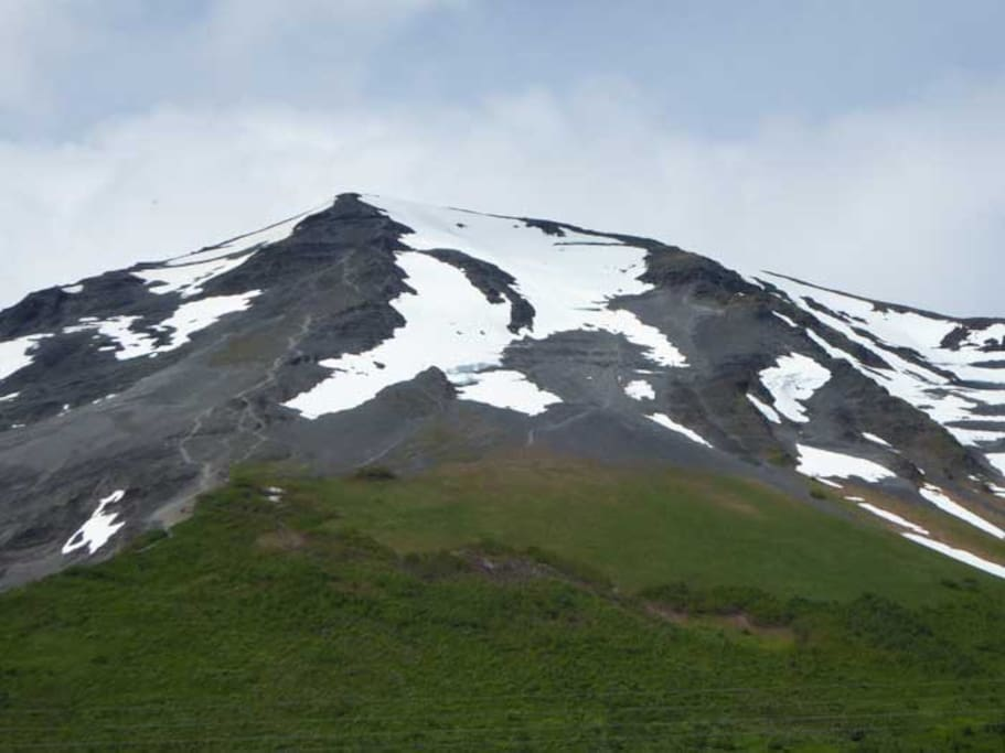 View of famous Mt Marathon from yard