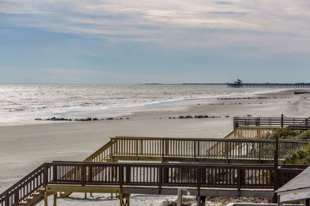 Beach Access & View of Folly Pier