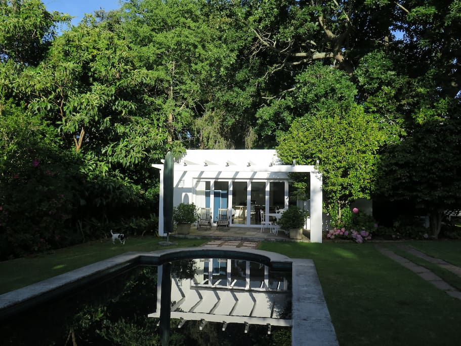 View of the garden apartment in the late afternoon