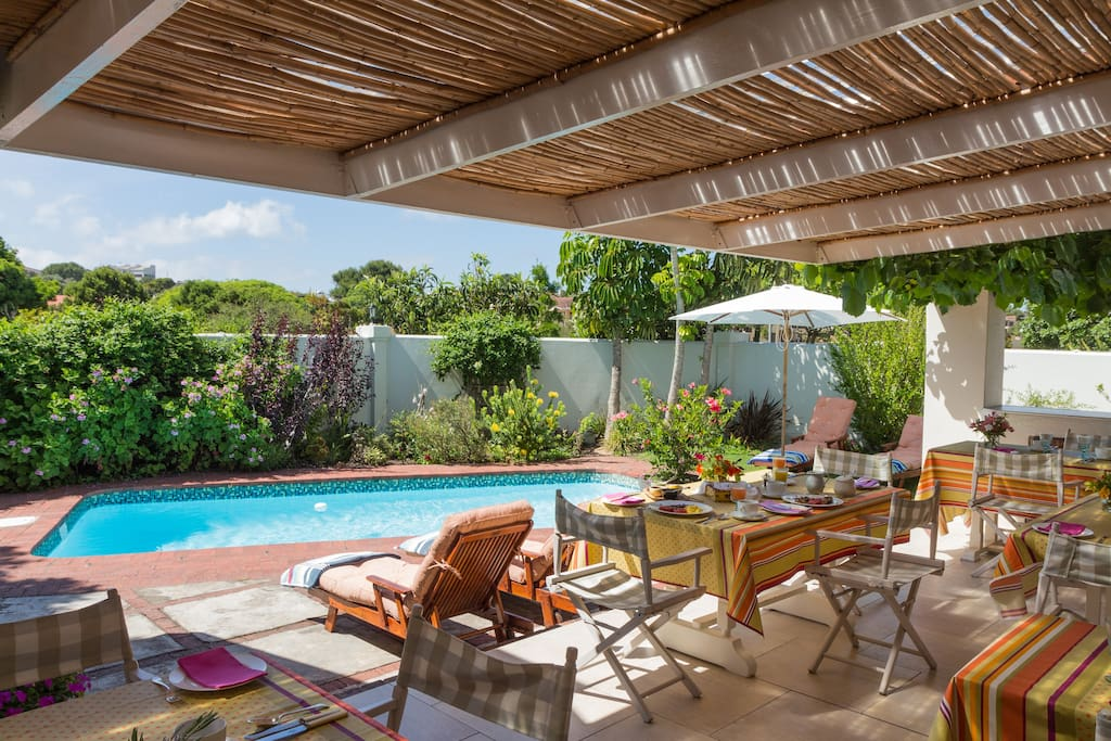 Our Pool area where  leisurely breakfasts can be enjoyed.