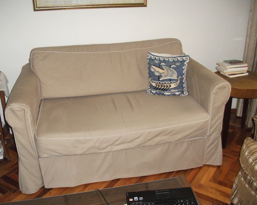 A couch in living room for 2