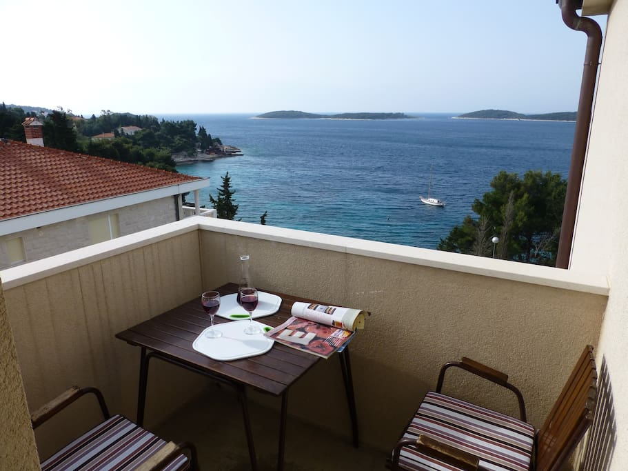 view from the balcony over Pakleni islands