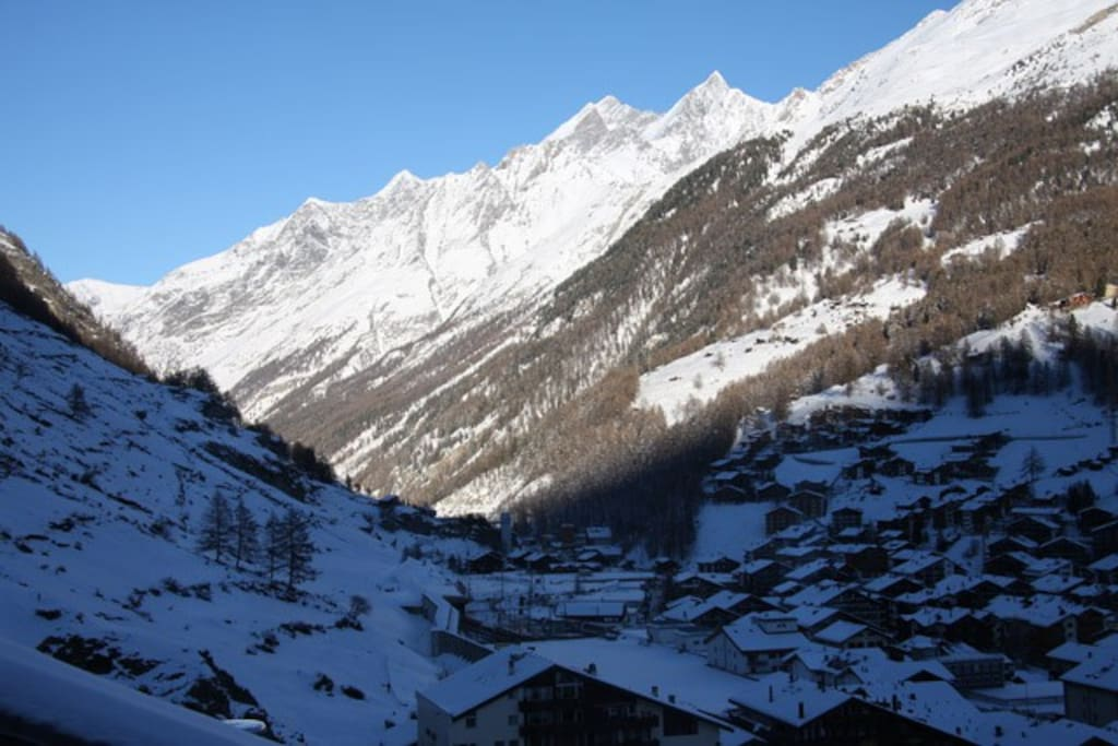 View on the village and the mountains