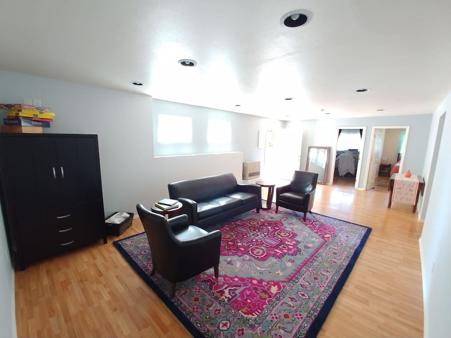 Huge living room greets you and welcomes you in