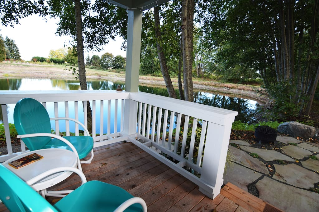 Sip your morning coffee overlooking the tranquil pond.