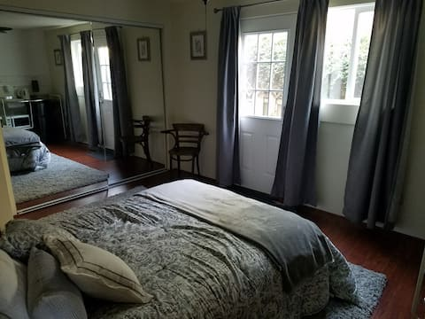 Newly renovated, tiny apartment, private, secure entry, lots of sunlight, full bed, wifi, patios & parking.