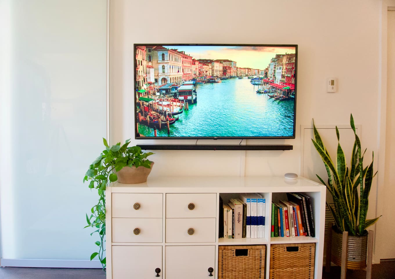 """Enjoy 200+ channels on Bell tv, Crave, and Netflix from this 55"""" 4k tv. Or play music using Google Home mini. Along with ultra-high-speed internet."""