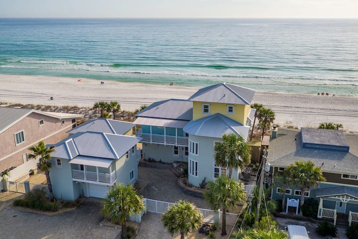 Modern-style Gulf front home w/ shared hot tub, gas grill - steps to the beach!