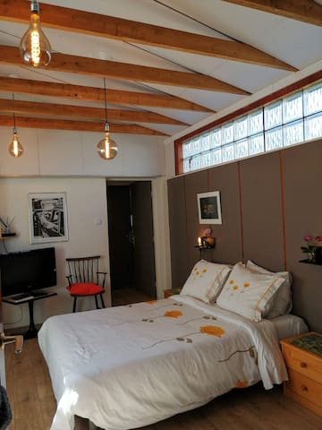 Large bedroom with double bed, TV and cozy atmosphere