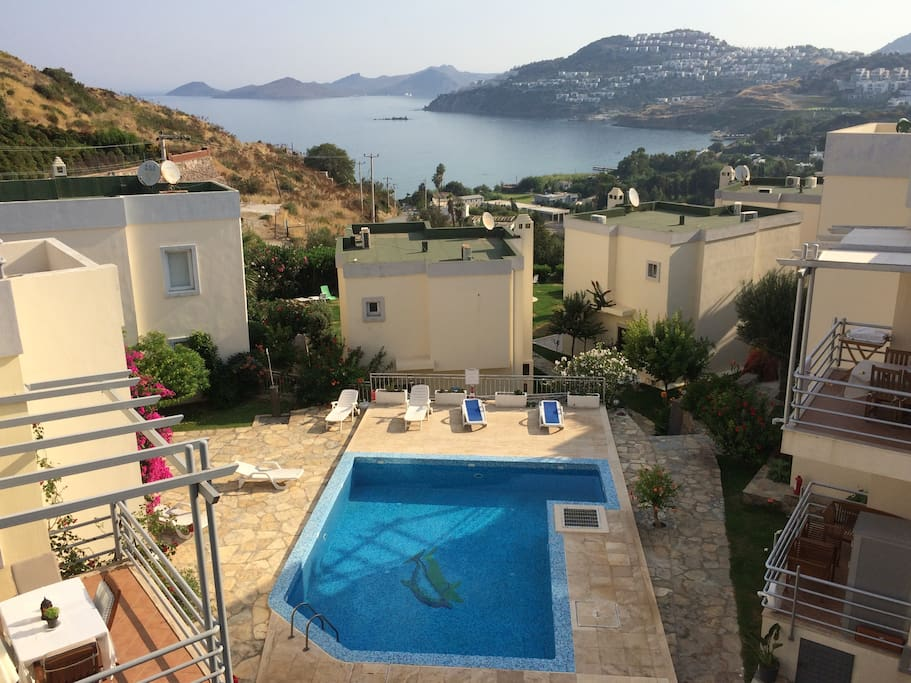 View from our house of the large pool
