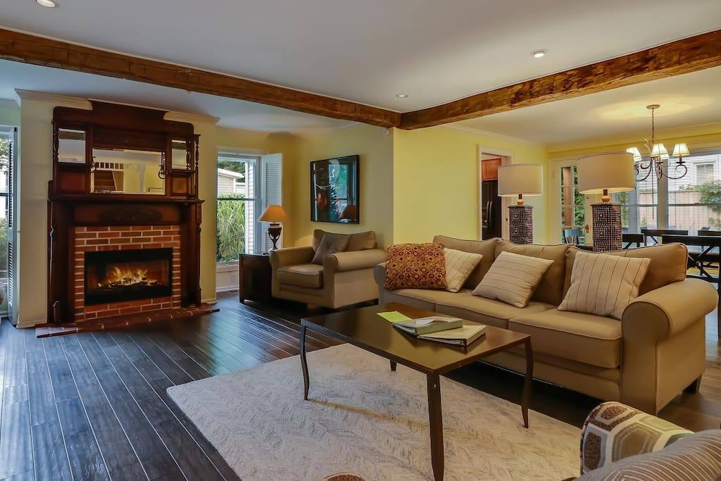 Northgate's cozy living space with gas fireplace.