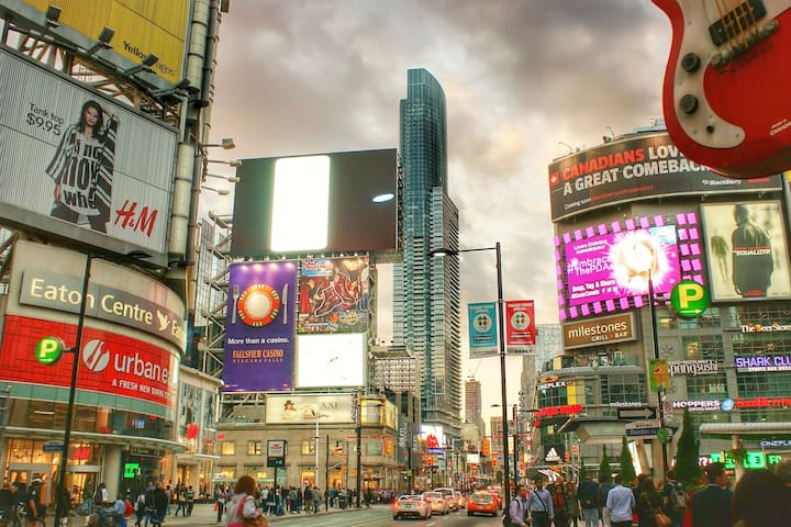 Steps away from Yonge-Dundas Square which is known as the Times Square of Toronto.