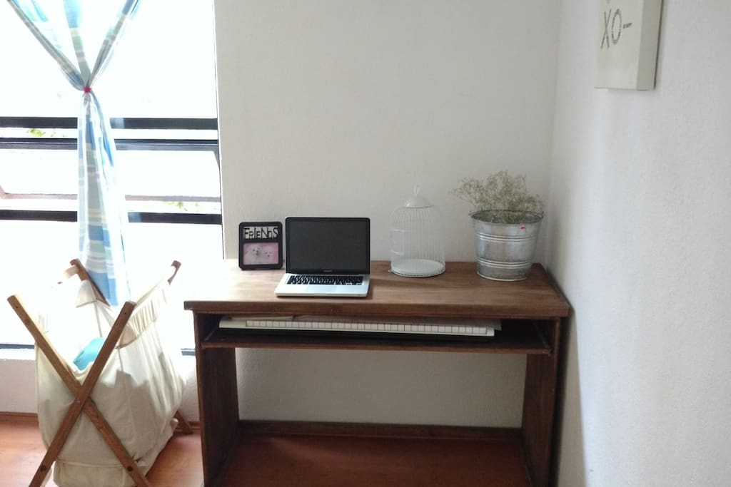 """you have a desk and a tv 46"""" where you can connect your laptop."""