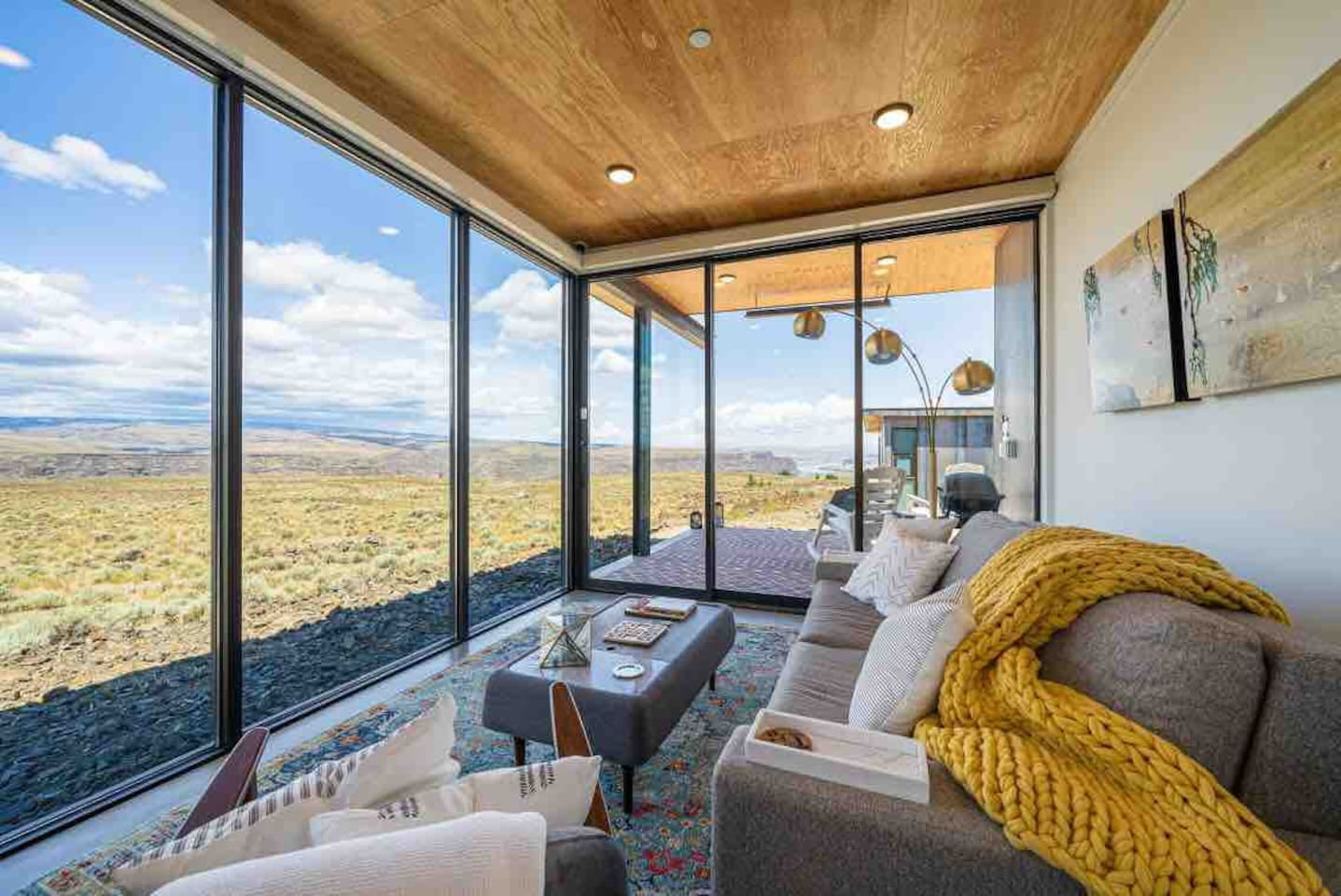 Experience the best views of the Columbia River Gorge, Ancient Lakes wine region, and Columbia Basin wilderness from the comfort of our home. It's clever design creates seamless indoor/outdoor views of the river, wilderness, and stunning sunsets.