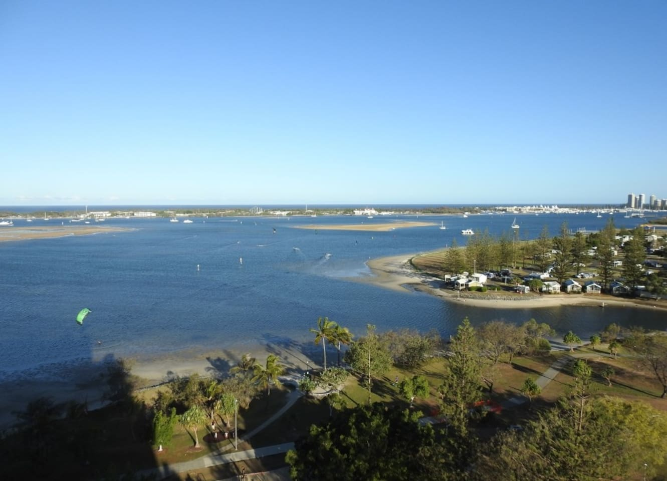 View of the Nerang River estuary with Sea World in the distance