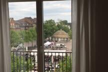 Utsikt från lägenheten över centrala Ängelholm