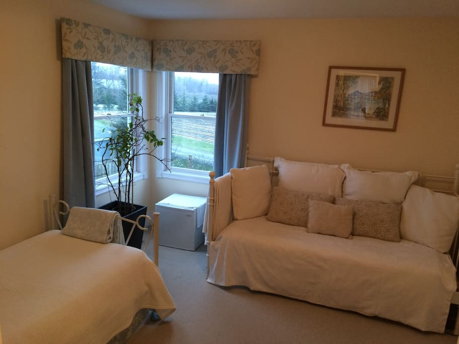 Adjoins queen room, twin bed and day bed, country outlook, closet, TV, WiFi, air conditioned