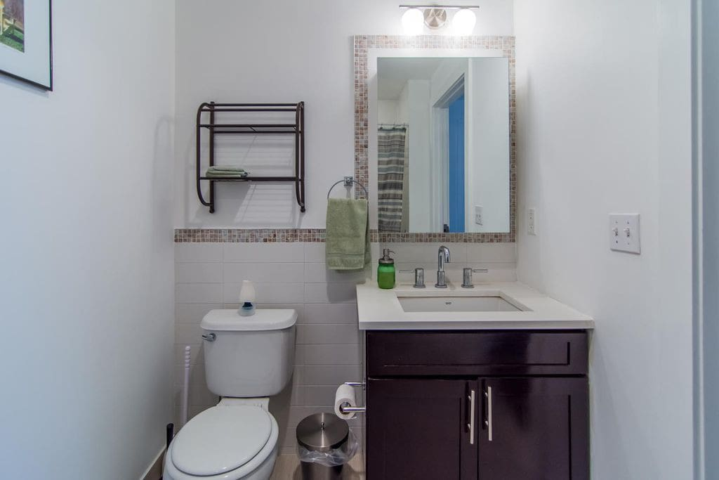 Guests have their own private bathroom with a full shower.