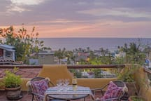 The private balcony for Casita A, has a beautiful view of Sayulita.