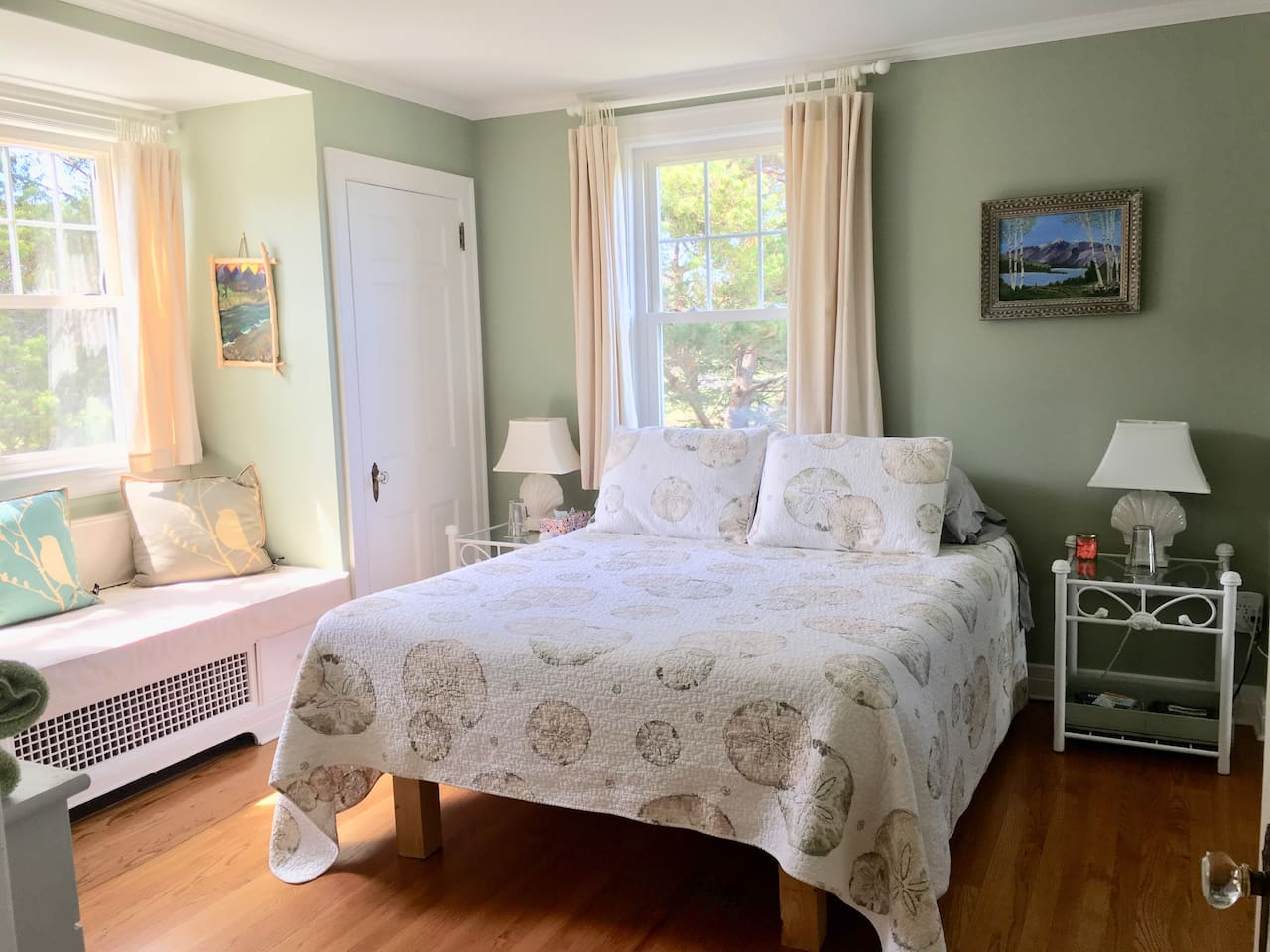 Rusticator Pine Room with west and north facing windows, queen plush memory foam mattress and lots of pillows to choose from for a restful nights sleep.