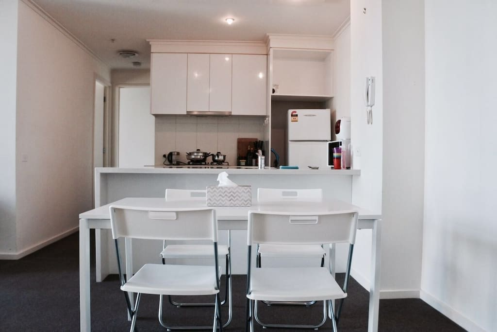 stylish dinning room and kitchen that you can make your lovely lunch or dinner in Melbourne