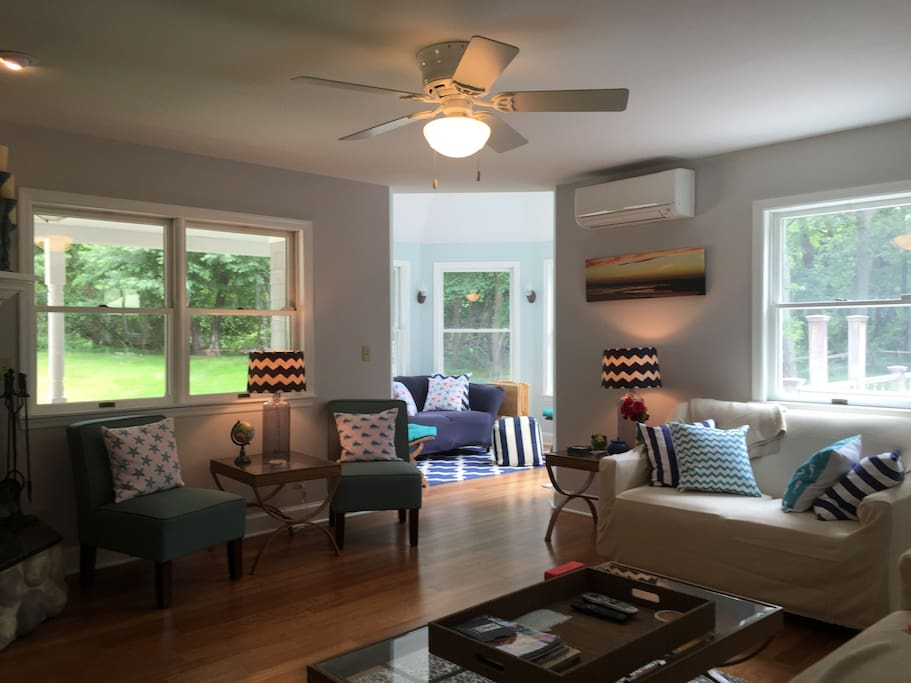 Living Room - bright and beautiful beach decor with plenty of room for everyone!